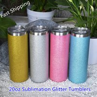 Sublimation 20oz Glitter Straight Skinny Tumblers with Straw Lid Stainless Steel Double Wall Insulated Vacuum Powder Coated Water Bottles DIY Coffee Mugs Cups Gift