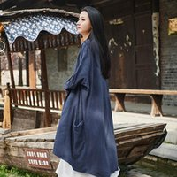 Women's Trench Coats Style National Coat Cotton Linen Women 2021 Spring Casual Solid Plus Size Vintage