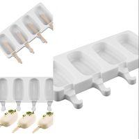 Silikon DIY Gefrierschrank Easy Creme Mini Eis Cremestange Mold Set Werkzeugsaft Stielzeug Formen Kinder Pop Lolly Tray Eiswürfelmacher 340 R2