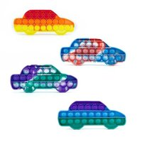 Car Shapes Fidget Toys Push Bubble It boards Tie Dye Rainbow Silicone Puzzle Finger Game Children's Adults Pressing Decompression Toys DHL
