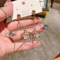 S925 gümüş iğne versiyonu, Kore rengi abartılı yıldız saplama küpe oymak, beş sivri büyük küpeler 7FNP