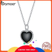 bamoer Real 925 Sterling Silver Black Heart Love Pendant Vintage Necklace Women Statement Collares Jewelry Gift Noble SCN443