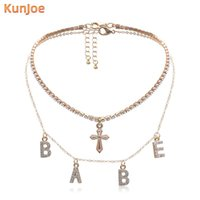 KunJoe Fashion Sexy Crystal BABE Letter Choker Girls Necklace Collares MultiLayer Cross Pendant Chain For Women Jewelry Chokers