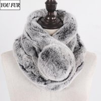 Scarves Arrival Women Genuine Rex Fur Ring Scarf Winter Natural Muffler Lady Real Neck Warmer