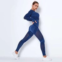 Kadınlar Dikişsiz Spor Setleri Yüksek Bel Spor Örtüsü Tayt Gömlek Takım Elbise Uzun Kollu Fitness Egzersiz Spor Koşu Ince Spor Setleri