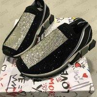 Diamant Sorrento Strass Schuhe Womens Slip-On Sneaker Stretch Kristall-verzierte Stricksocke Two-Ton-Gummi-Micro-Sohle-Leslieechung