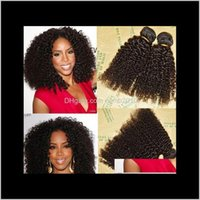 Sin procesar Brasileño peruano indio Malasiay Humano Remy Virgin Hair Kinky Rizado Troquía Derecho Pelo Extensiones Color Natural 3pcs AZN8Z
