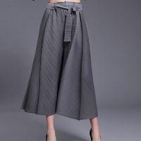 Kadın Pantolon Capris Artı Boyutu Pantolon Kadınlar Için 45-75 KG 2021 Bahar Dantel-up Bel Kemeri Katı Renk Elastik Miyake Pileli Geniş Bacak Gri
