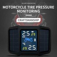Motorcycle TPMS Motor Tire Pressure Tyre Temperature Monitoring Alarm System Waterproof with 2 External Sensors Solar Charging Car