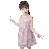 Kızlar Kızlar için Yaz Elbiseler Çiçek Nakış Kız Çocuk Elbise Mesh Çocuklar Dantel Kostüm 6 8 10 12 14 Kız