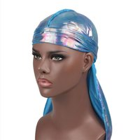 Beanie Skull Caps Attractive Laser Silky Durag Bandanas Hats For Women Men Long Tail Pirate Hat Waves Do Doo Du Rag Turban Hair Accessories