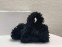 (с коробкой) 2021 модные песочные часы сумка зимний пушистый топ качественный дизайнер черные маленькие сумки ручка кошелек Balencaiga