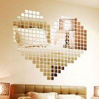 배경 화면 100 조각 미러 타일 DIY 벽 스티커 3D 데칼 모자이크 하우스 홈 룸 장식 스틱 현대 객실 방울