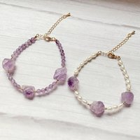 Reiki Healing Viola Crystal Flower Fascino Fascino d'acqua dolce Braccialetti di perle d'acqua dolce Real Stone Rock Quartz Natural Amethysts Femmina perline, fili
