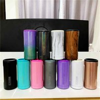 Double-walled Stainless Steel Insulated Can Mug Cooler for 12 Oz Slim Cans Thermos Cup (Glitter Mermaid)