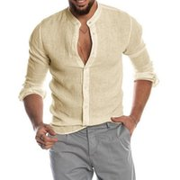 Men's Casual Shirts Cardigan Shirt Stand Collar Solid Color Long Sleeve Clothes Blouse Spring Autumn Linen Cotton For Men Tees Tops