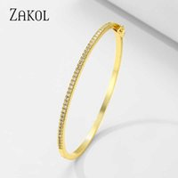 Zakol Beautyful White Gold Color Cubic Zirconia Thin Bangles Bracelets for Women Party Jewelry Birthday