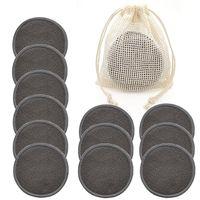 Wiederverwendbare Bambus-Make-up-Entferner-Pads Baumwolle 12pcs / Packung Waschbare Runden Gesichtsreinigung Make-up-Entfernung Pad Tool