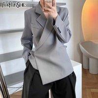 Женские костюмы Blazers Foryunshes Fashion Design Vintage Серый костюм Куртка 2021 Женщины Весна Корейский Элегантный Свободные Кружева Blazer Caper Office
