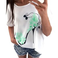 Free Ostrich Clothes New Summer Women's Loose Pullover O-neck Casual Short Sleeve High Heel Shoe Printed T-shirts Cotton Tops