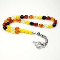 Rosary Islam 33 Tasbih Musulmán Tasbih Artificia Beads Color Mixto Color Accesorios Metal Tassel Pulseras de oración en la mano con cuentas, hebras