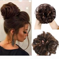EXTENSÕES DO CABELO EXTENSÕES DE DONUT CHEGONONES CURTY bagunçado encaracolado Cabelo ondulado Peças para as mulheres Cabelo Scrunchy Updos Bun Human Hair 4 Cores opcionais