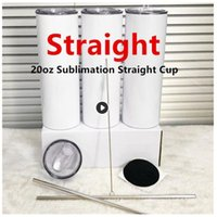 1Pc 20oz Sublimation straight Tumblers Blank white Slim Stainless steel Cups 20 oz vacuum insulated double walled mugs and metal Straw HM18