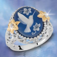 style. Women's big stone retro flower religious ring peace pigeon nano reflection bird ring fashion accessories