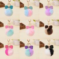 Fashion Fluffy Rabbit Fur Double Color Ball Key Chain Bow-knot Pompom Fur Keychain Women Car Bag Key Ring