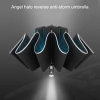 Paraguas LED LED Plegado automático Paraguas ABIERTO reflectante Anti-viento inverso completamente
