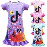 Tiktok الفتيات توتو الطفل فساتين قصيرة الأكمام التنانير الصيف الأطفال الأميرة فتاة طفل اللباس باس النوم الملابس 4 اللون gg34vuce