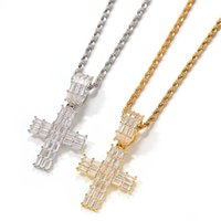 Mens Hip Hop Cross Necklace Square Stone Bling Iced Out Pendant Necklaces Gold Silver Diamond Jewelry