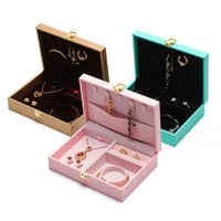 2021 Style Leather-filled paper Storage Box Portable Rings Necklaces Pendants Earrings Bracelets Jewelry Packaging Case European-Style Multi-Function Gift
