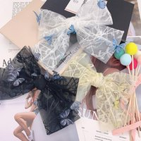 Hair Accessories Korean Fashion Bud Silk Gauze Barrette Multi-layer Bow Lace Hairpins Spring Clip Embroidery Top