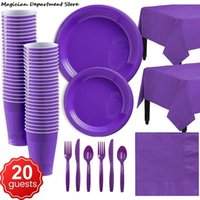 Dinnerware Sets For 20 People Birthday Party Disposable Tableware Set Paper Plate Straw Cup Solid Color Tablecloth Spoon Wedding