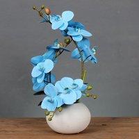 Vasos moderno vaso de cerâmica minimalista + orquídea borboleta flores artificiais artesanato falaenopsis decoração mesa de café ornamento floral