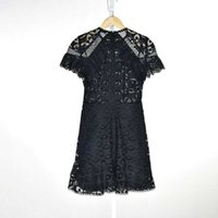 2021 Spring Summer Floral Print Short Sleeves Round Collar Lace Mini Dresses Women Dress Fashion