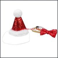 Suministros para perros Home Gardendog Apparel 2 unids PET trajes de Navidad Ajustable Bow Pie and Hat Cosplay Disfraz Adorable Headwear para gatos perros