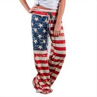 Sexy pantalones de cintura baja para mujer Leggings de la bandera americana con cordón de piernas ancho Pantalones de pierna de entrenamiento Femme Mujer