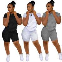 Plus Size Frauen Casual Trainingsanzüge Sport Zwei Teil Sätze Brief Druck Outfits Sommer Kleidung Rundhalsausschnitt T-shirt + Skinny Shorts Slim Jogger Anzug 4660