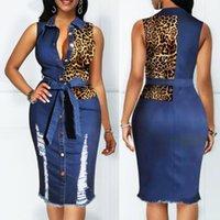Повседневные платья кнопки вниз джинсовые сексуальные платья женские леопардовые печать летняя джинская длинная рубашка женщины Vestido Elbise халат Sukienka