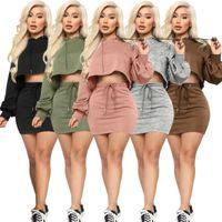 Vestido de mujeres Dos piezas Conjunto Discoteca Color Sexy Color Sólido Bate Linterna Sweater con capucha Suéter y falda Mostrar cintura Vendaje Sportwear Sportwear