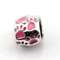 50 pçs / lotes cor-de-rosa esmalte esmalte big buraco beads espaçador para jóias fazendo bracelete colar diy acessórios 8x10mm