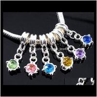 60 teile / los baumeln geburtstag kristall strass anhänger silber charms groß loch perlen fit europäischen charme armband schmuck diy jdbdn gqhwi