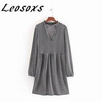 Leosoxs Vintage Houndstooth V-Neck Long Sleeve Women Dress Loose Casual Plaid Print Elegant All-match Dresses 2021 Autumn