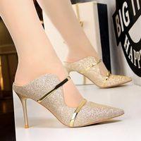 Обувь платья Bigtree Sexy Женщины Каблуки 2021 Сексированная Ткань Женщина Насосы Насосы Sandals High Party Тапочки STILETTO 9 CM