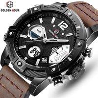 Bracelets Goldenhour Marque Quartz Montre Sport numérique Hommes Chronographe Militaire Bracelet Bracelet En cuir Bracelet Holle Horloge Relogio Masculino