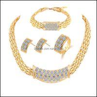 Bracelet, & Jewelrybridesmaid Set Diamond Rings Necklace Bracelet Earrings Wedding Party Jewellery Sets Indian African Like Dubai 18K Gold J