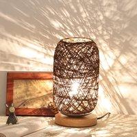 Table Lamps USB Port Wood Rattan Twine Ball Lights Warm White Lamp For Room Home Art Decoration Desk Light Full Shading Night