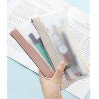 Простой замороженный прозрачный цветной карандашный чехол Pen Bag TPU водонепроницаемый матовый мешок для хранения для канцелярских средств школы Уолшебчик F388 Bags1
